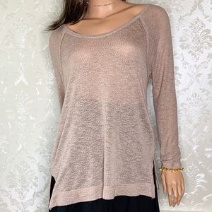 Free People Sweaters - Free People Beach Mauve Thin Knit Top